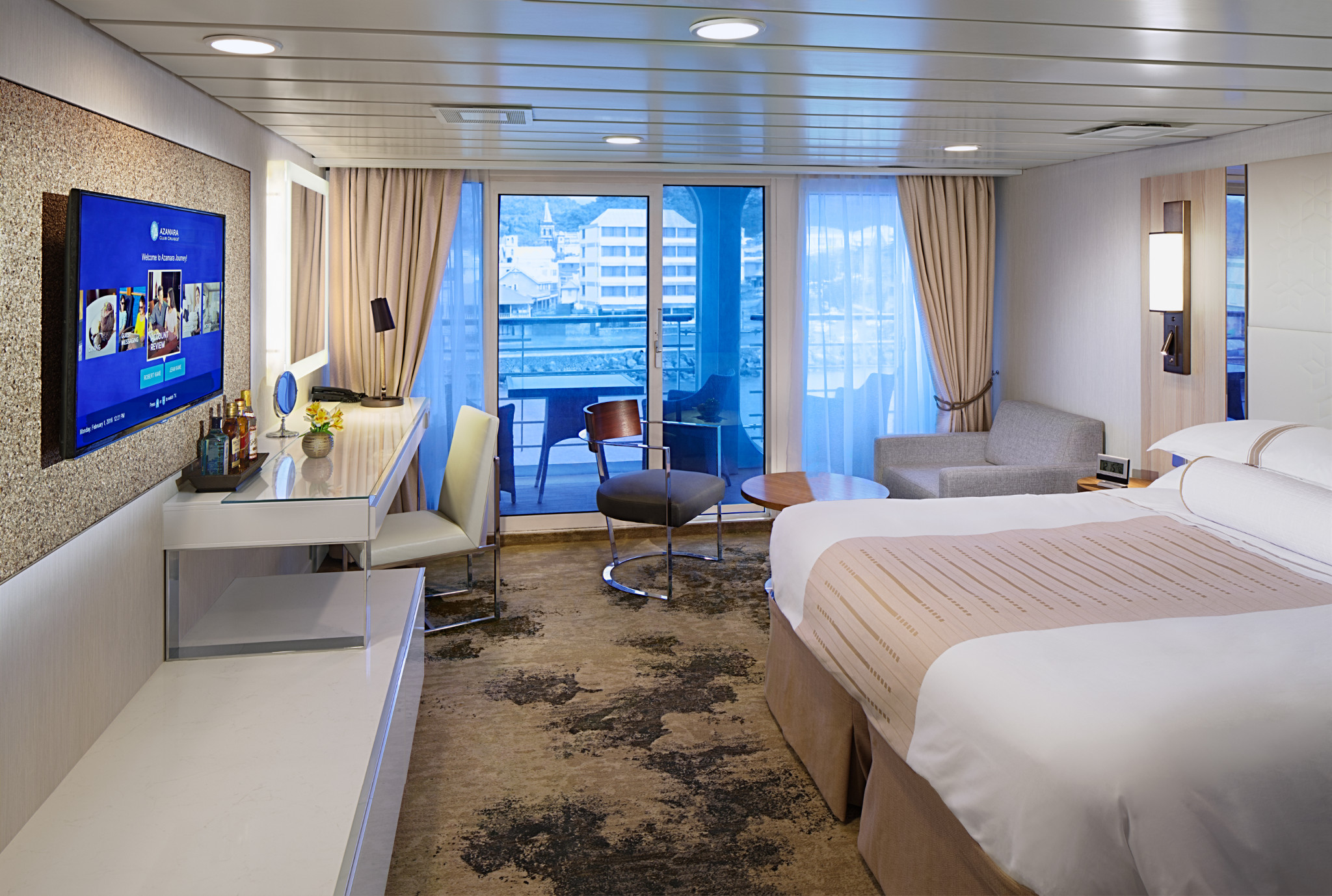 Azamara cruises bedroom suite.