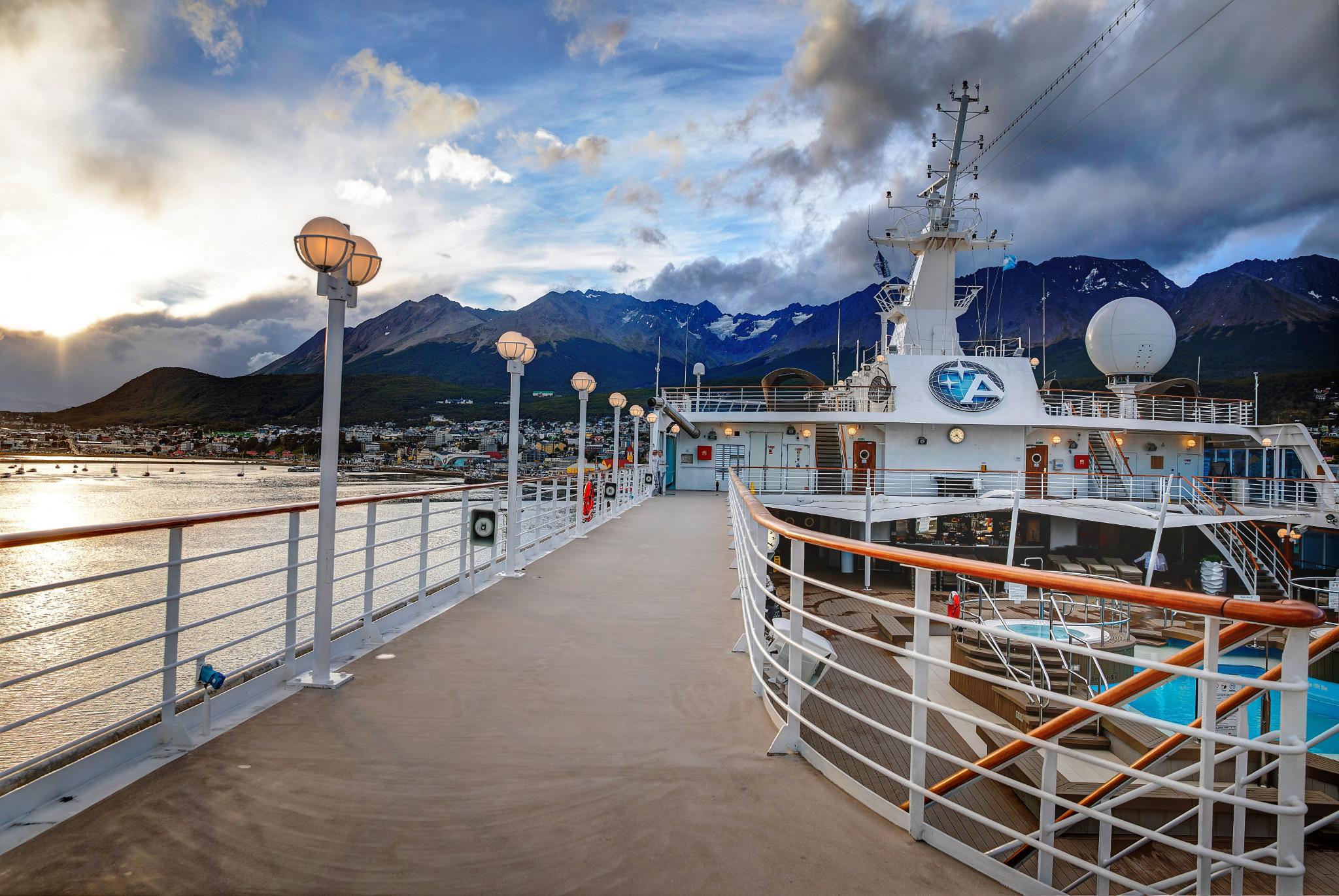 Azamara cruise ship docked in Argentina.