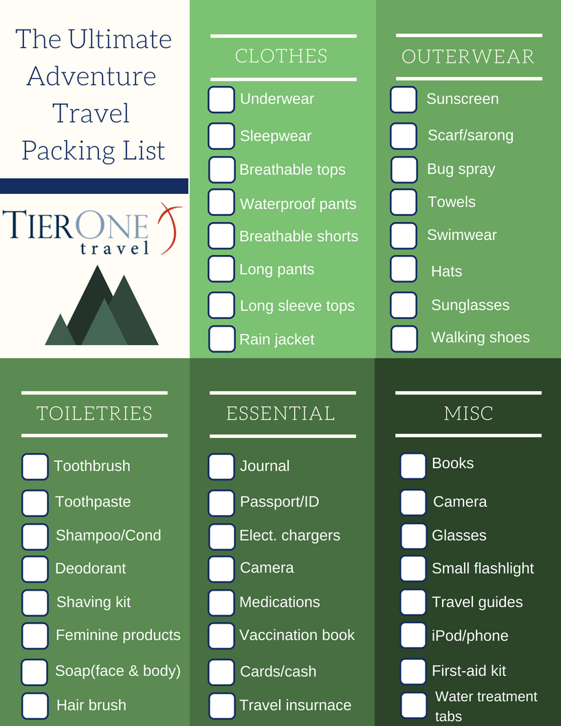 Adventure Travel packing list