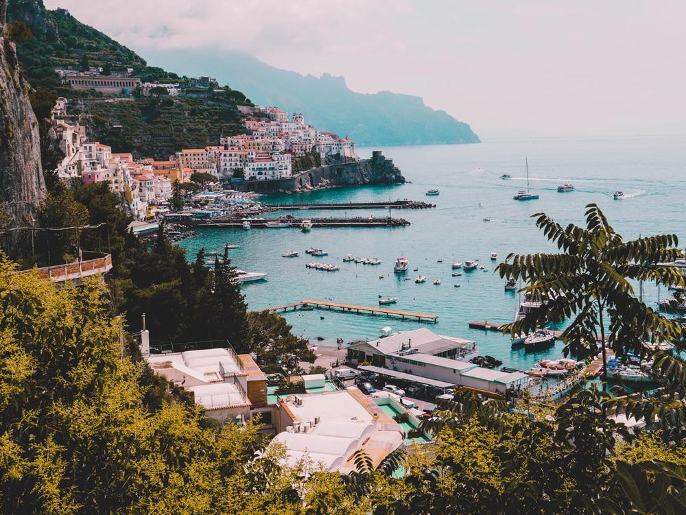 Village along the ocean