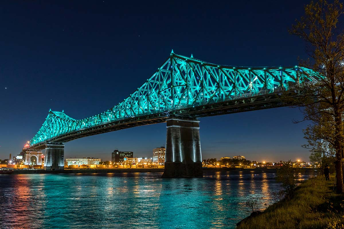Jacques-Cartier Bridge at night.