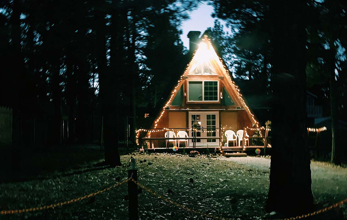 Discover a cabin in the woods.