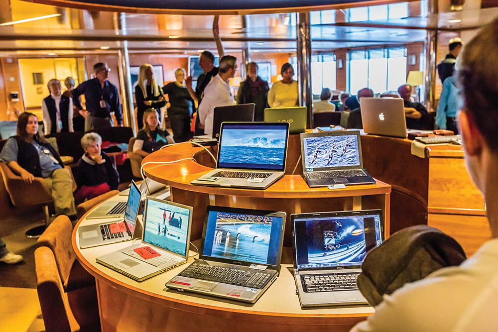Laptop lounge aboard a Lindblad Expeditions ship.