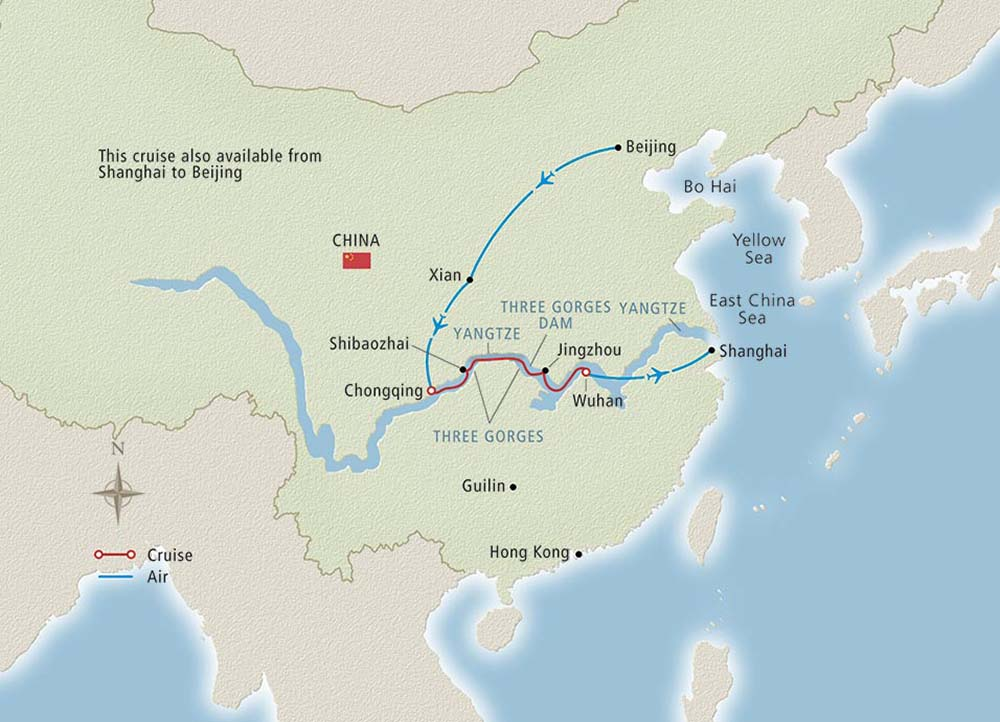 Map of Yangtze River in China.