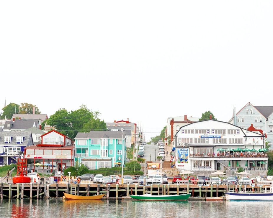 Colourful houses along a boardwalk