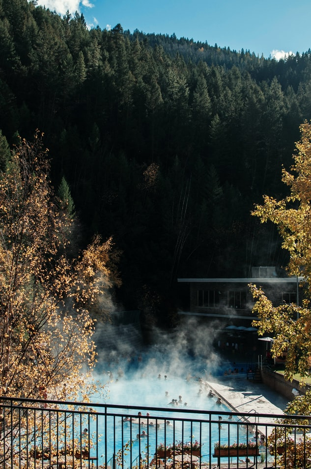 Hot spring pools in the mountains