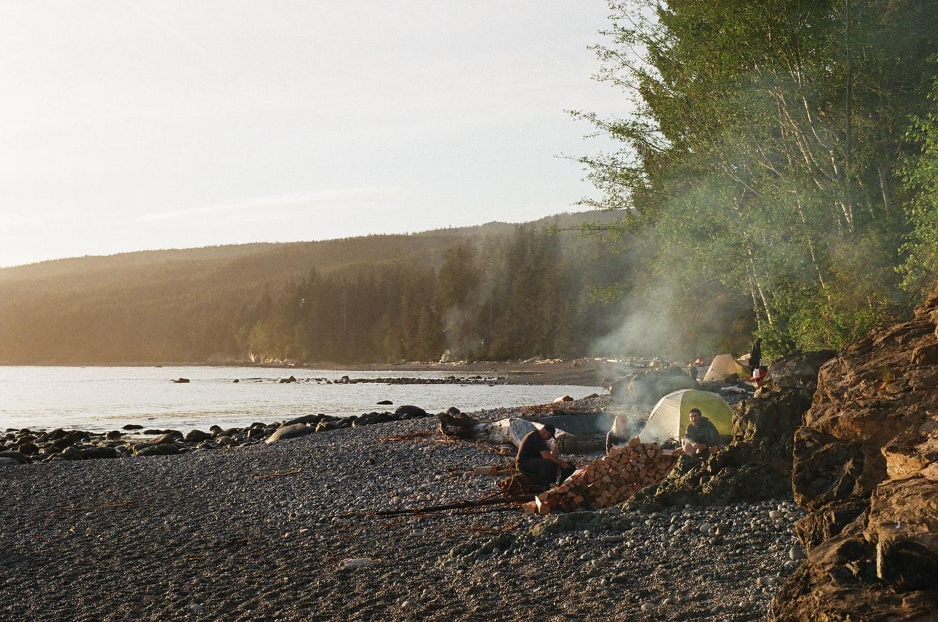 People camping on a beach
