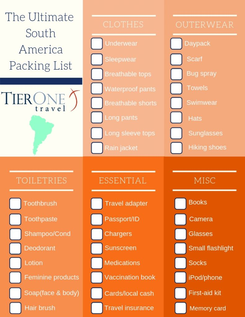 South America Travel packing list (1)
