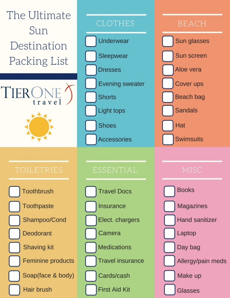 Sun Destination Packing List