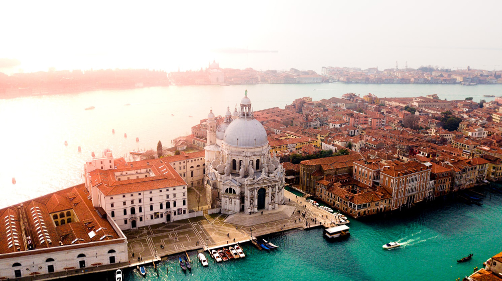 Overhead view of city of Venice