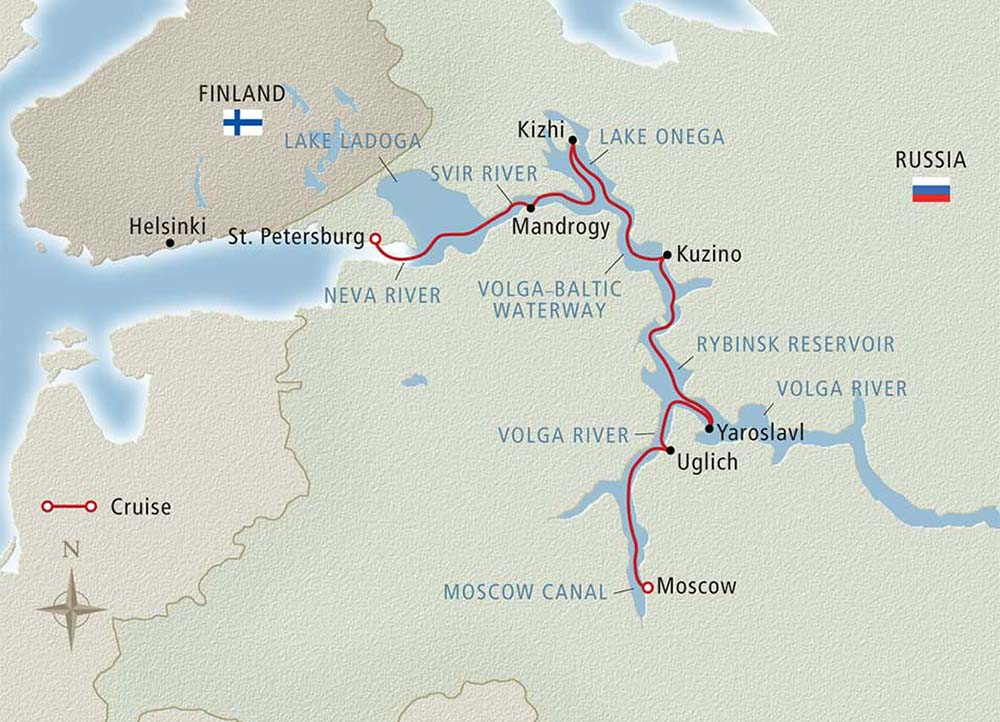 Map of river cruises in Europe.