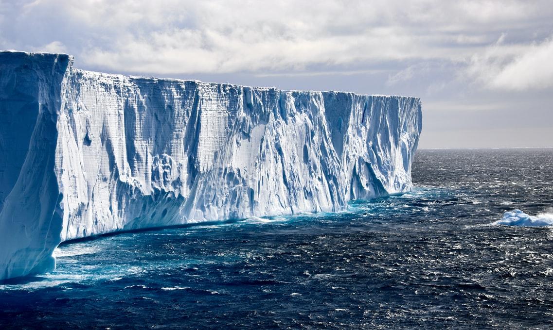 a huge glacier in the ocean