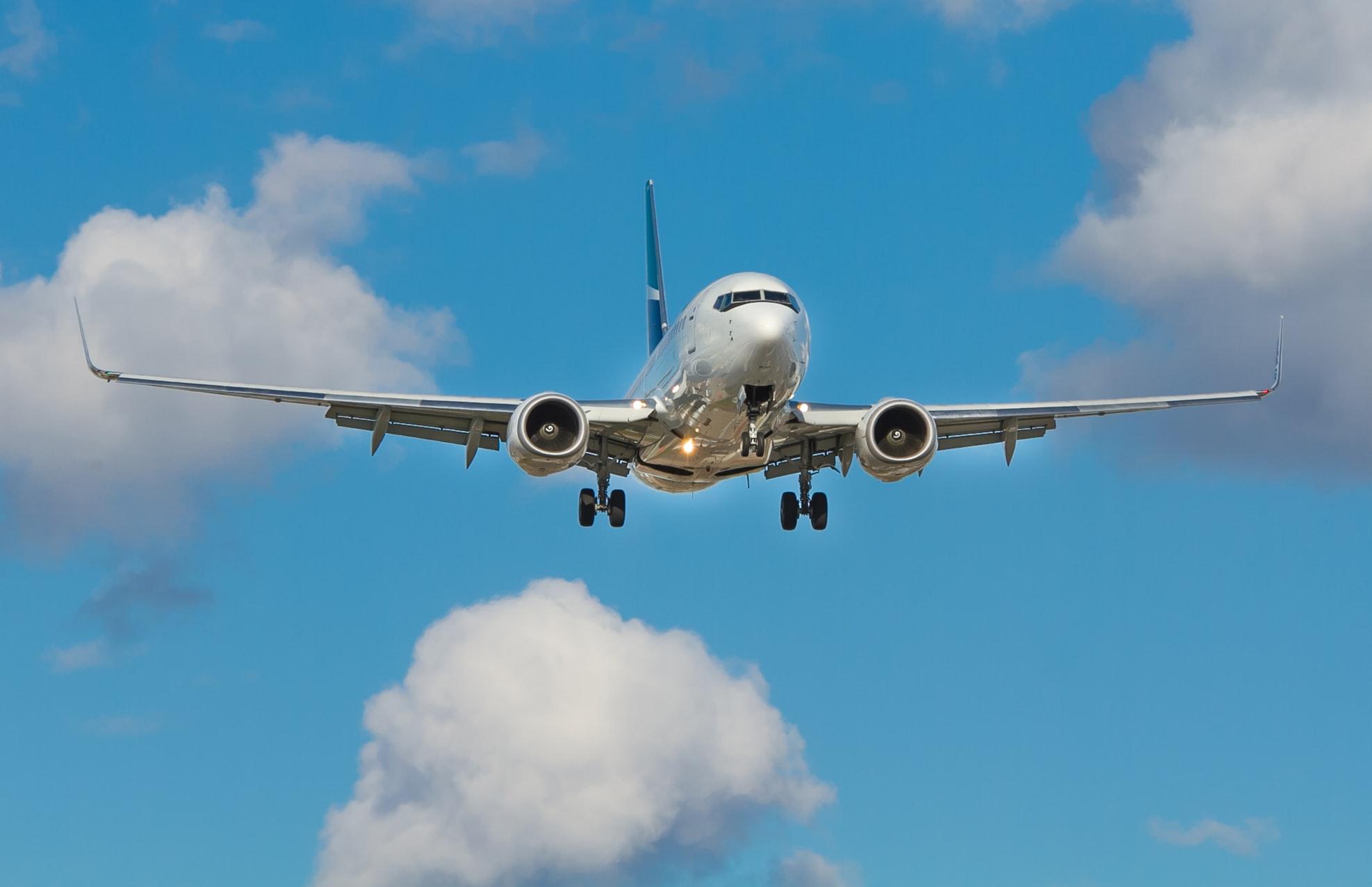 WestJet Airplane in the sky